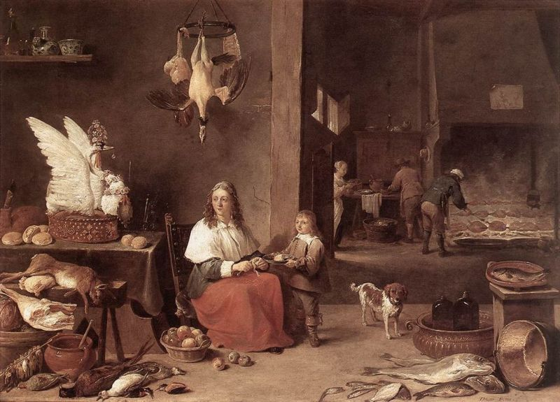 See the swan pie on the table to the left? That's a subtletie. David Teniers the Younger [Public domain], via Wikimedia Commons