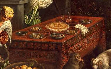 Detail from Leandro Bassano's Allegory of the Element Earth, c.1580. The marchpane in the centre of the table looks like it has been decorated with ragged comfits, small seeds coated in layers of sugar and used to aid digestion after dinner. Leandro Bassano [Public domain or Public domain], via Wikimedia Commons