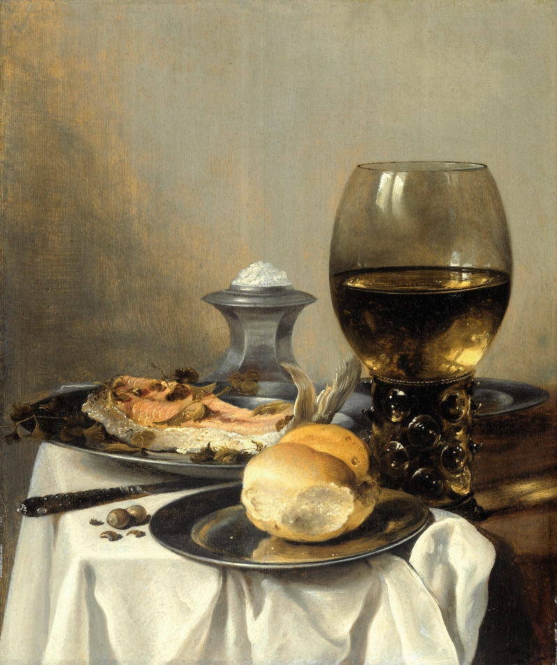 Pieter Claesz, Still LIfe with Salt Tub, c. 1644. Pieter Claesz (1597/1598-1660) [Public domain], via Wikimedia Commons