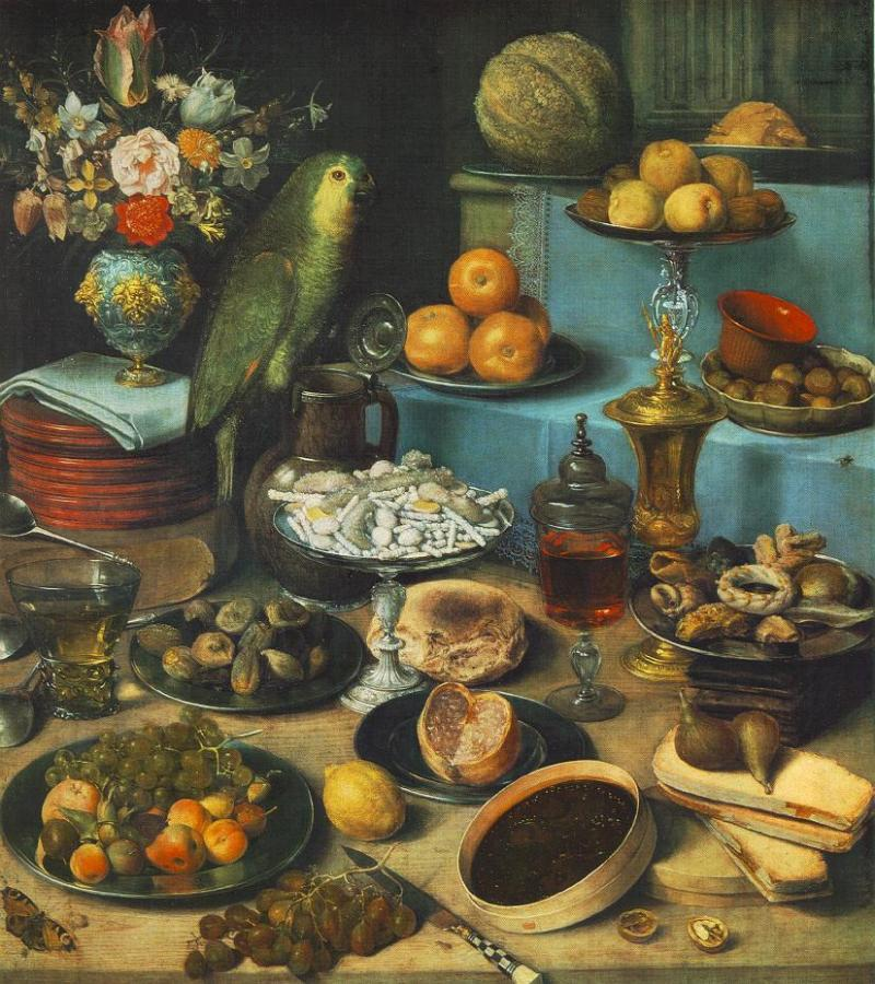 Georg Flegel, Still-life with Parrot, c. 1630. Georg Flegel [Public domain], via Wikimedia Commons. The round box at the front of the painting contains a dark fruit paste.