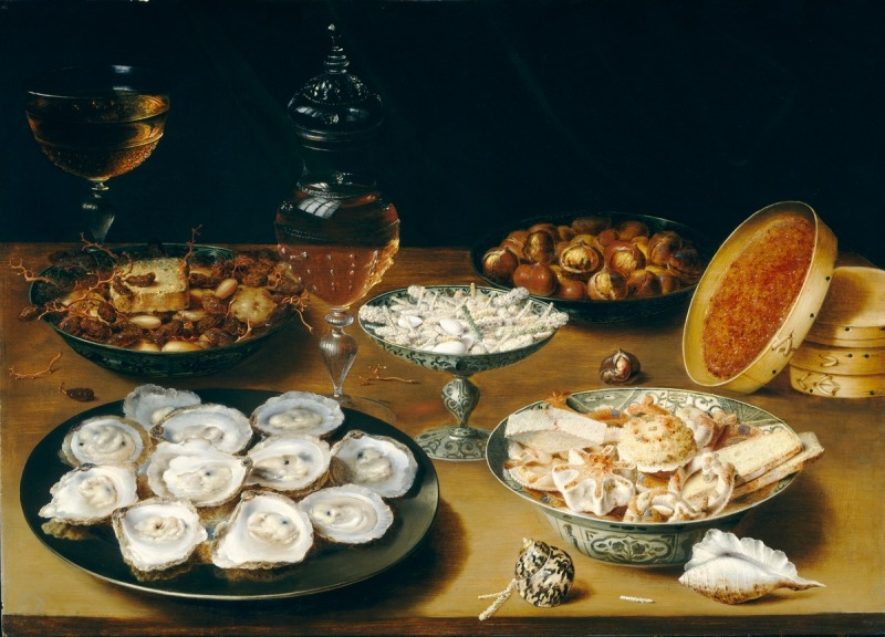 Osias Beert, Dishes with Oysters, Fruit and Wine c. 1620-25. Georg Flegel [Public domain], via NGA. This painting shows a lighter  fruit paste in the round box to the right of the image. It could be a different fruit like apricot, apple or pear or maybe a combination.