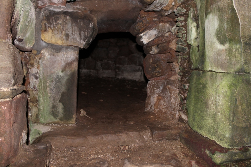 The entrance of the bread oven at Dunnottar Castle. The fire would be lit inside the oven to heat the surrouding stone, then once the desired temperature was reached the fire would be raked out and the bread quickly put in. The bread cooked thanks to the heat from the stones, and as they cooled a succession of items could be cooked with bread first followed by pies and more delicate items which needed a cooler oven.