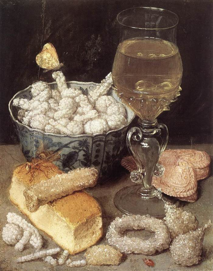George Flegel, Still Life with Bread and Confectionary, 17th century, [Public Domain]  via Wikimedia Commons.  Here you can see comifts, spices which have been covered in layer after layer of sugar, wine and a moulded biscuit, perfect for rounding off the meal.