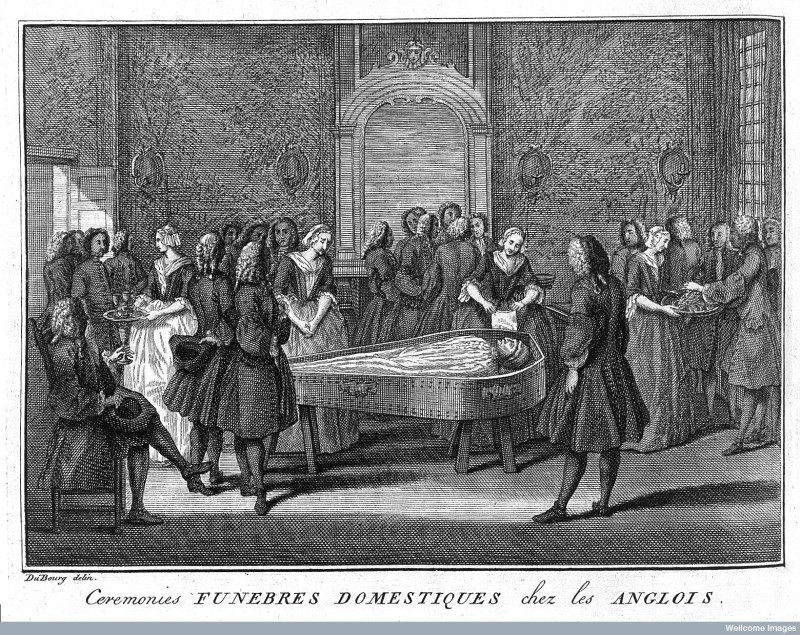 Even though this picture is quite a bit earlier than the other sources we've been looking at, I think its very interesting to see the girl serving wine on the left (and the text mentions that those present will drink several glasses before and after the funeral) and the girl on the right who has a plate of food. Could it be biscuits?                                                                                                                          Funeral Scene from The ceremonies and religious customs of the known world by Bernard Picart, 1737. Credit: Wellcome Library, London. Wellcome Images [CC BY 4.0]Bernard Picart, 1737. Credit: Wellcome Library, London. Wellcome Images http://wellcomeimages.org  CC BY 4.0 http://creativecommons.org/licenses/by/4.0/
