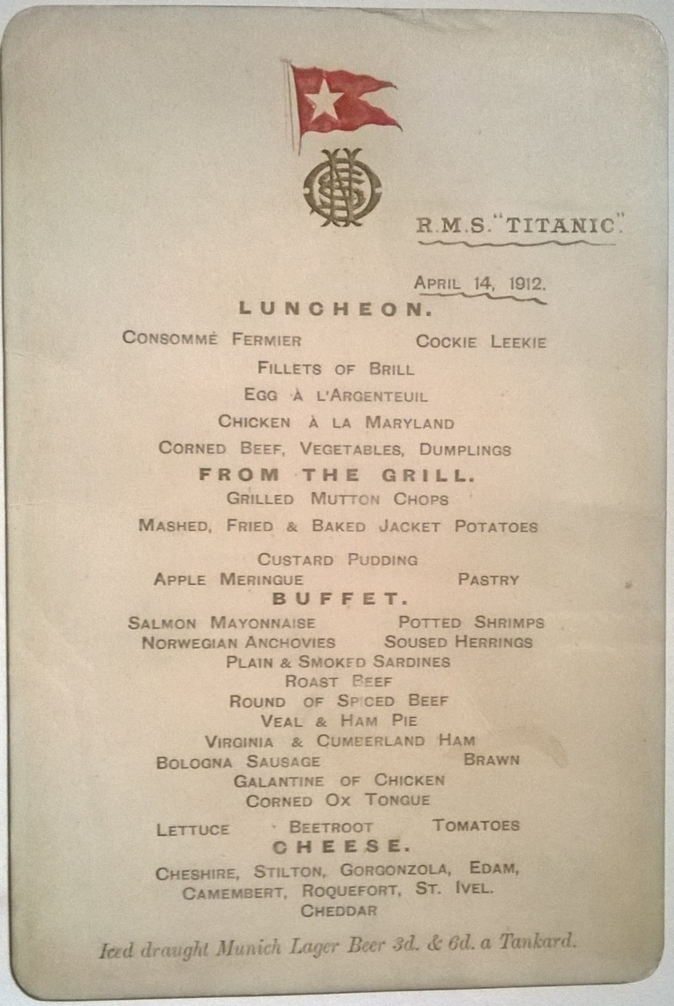 Titanic Luncheon Menu