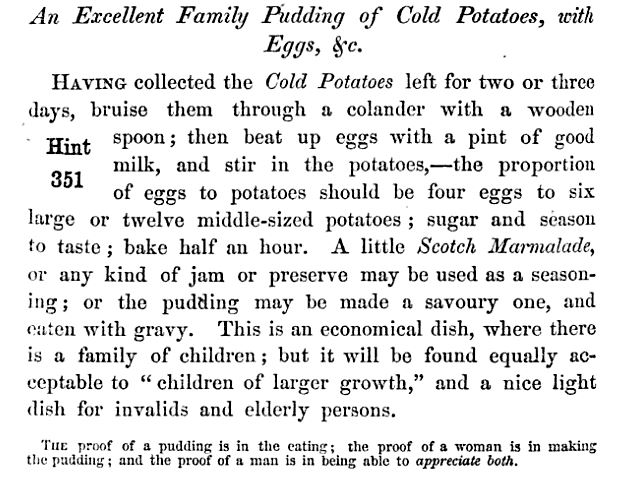 Potato pudding recipe form The Family Save-All, 1861, pg. 90.