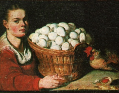 Girl with a Basket of Eggs by Joachim Beuckelaer (circa 1533–1575) [Public domain], via Wikimedia Commons