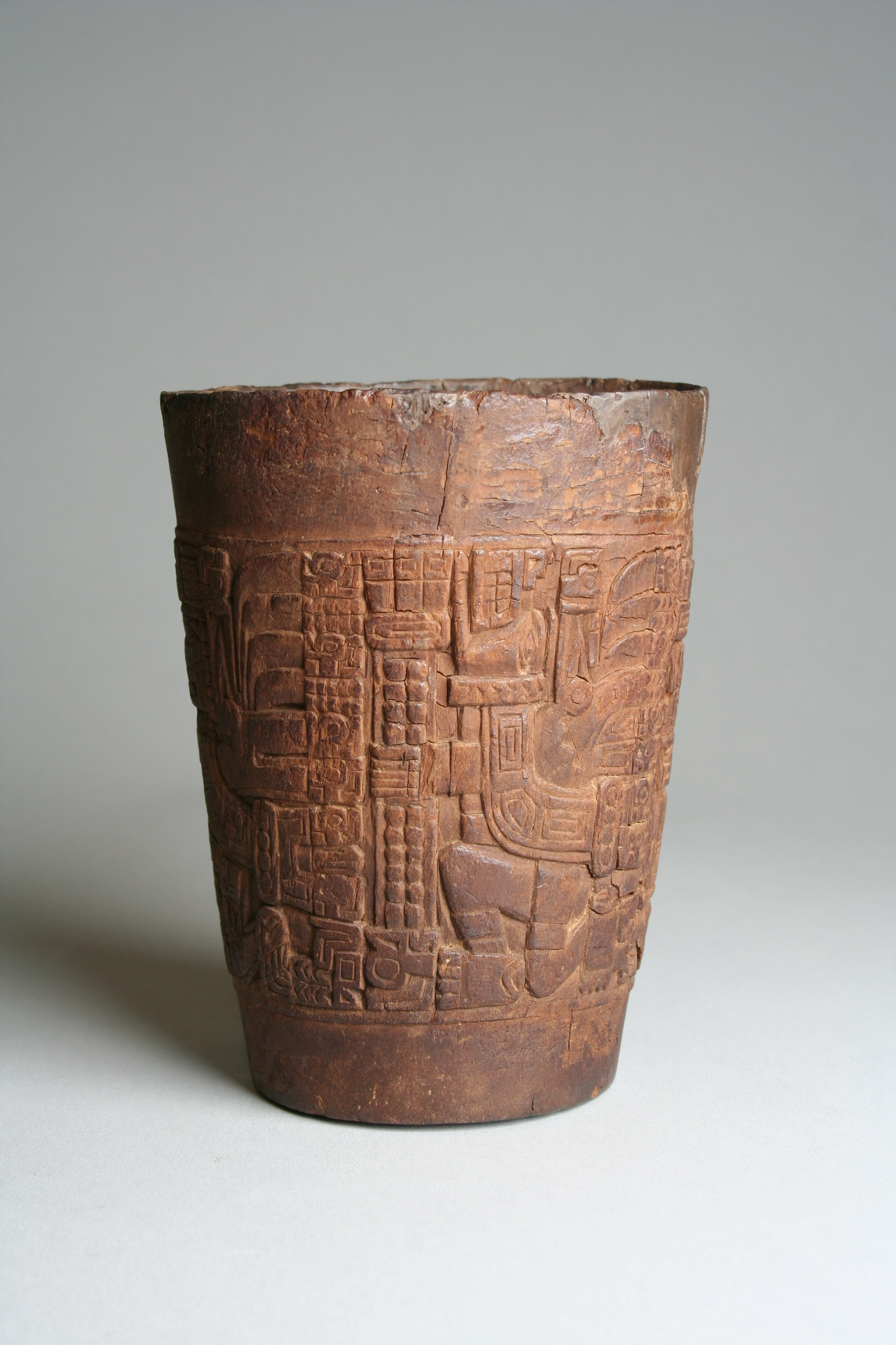 Wari wooden beaker (kero), 7th to 10th century, from Peru or Bolivia. These cups were used for drinking chicha. Accession No. 1978.412.214. Licenced by the Metropolitan Museum under CC0 1.0 Universal.